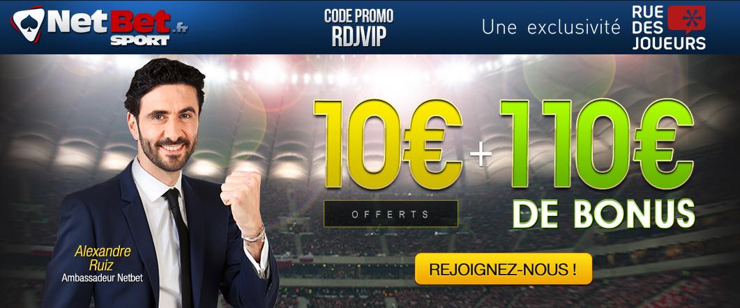 netbet exclu club rdj ruedesjoueurs 10 euros offerts