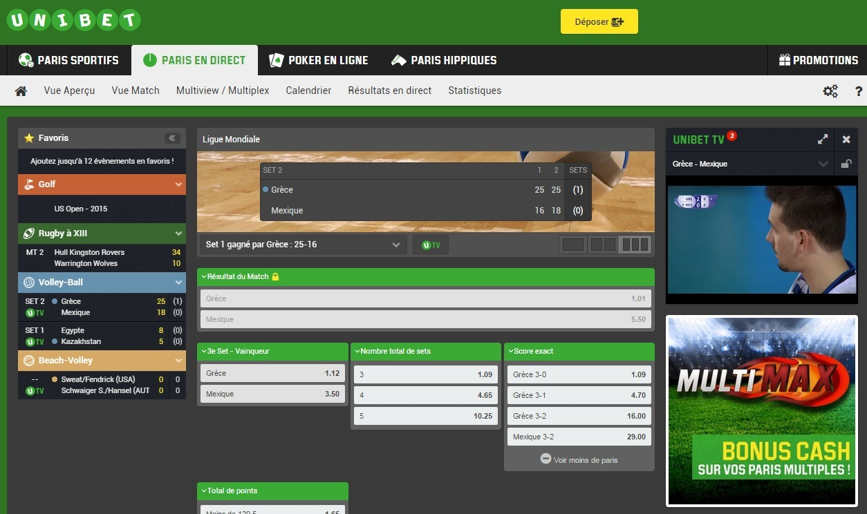 unibet paris direct vue match