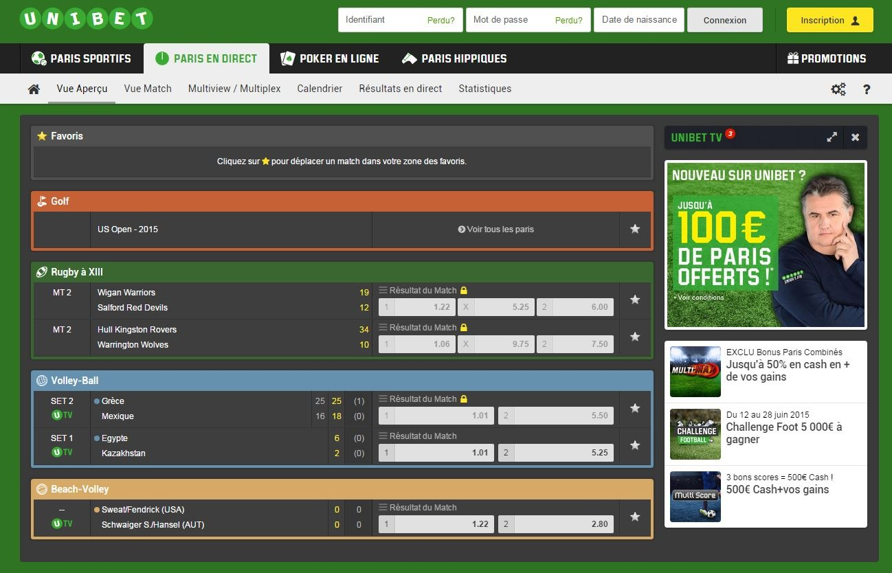 unibet vue en direct