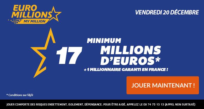Tirage Euromillions Vendredi 20 Décembre 2019 17 Millions D Euros à Gagner
