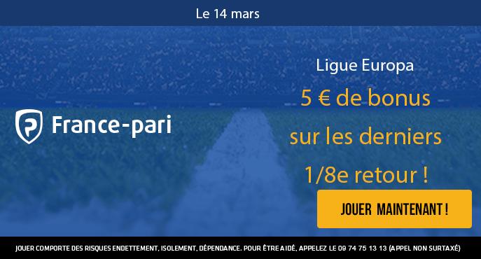 france-pari-5-euros-bonus-europa-league-huitiemes-de-finale-retour-arsenal-rennes