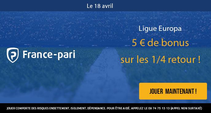 france-pari-ligue-europa-quarts-de-finale-retour-5-euros-bonus