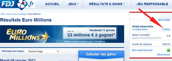 Inscription euromillions